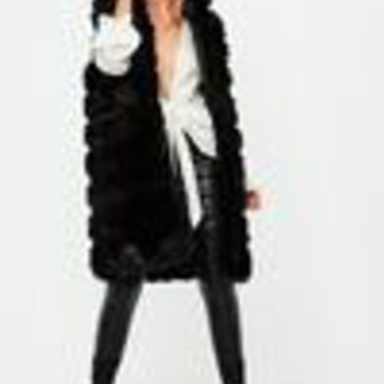 Missguided - Black Hooded Pelted Gilet