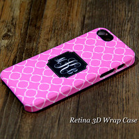 Simple Circle Custom Monogram 3D-Wrap iPhone 5S Case iPhone 5 Case iPhone 5C Case iPhone 4S Case iPhone 4 Case