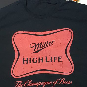 Vtg  Miller High Life  Shirt champagne of beers  black Red  XL