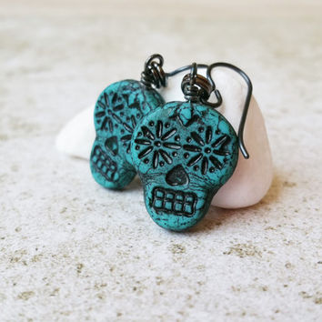 Teal Green Sugar Skull Earrings, Day of the Dead Mexican Jewelry, Handmade Halloween Earrings