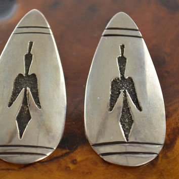 Navajo Earrings Sterling Silver with Original Tribal Engraving & Leather Pouch