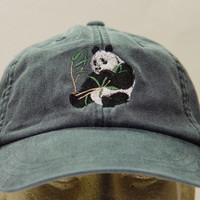 PANDA BEAR HAT - One Embroidered Wildlife Cap - Price Embroidery Apparel - 24 Color Caps Available