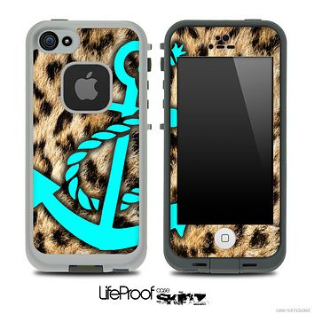Real Cheetah Animal Print and Turquoise Anchor Skin for the iPhone 5 or 4/4s LifeProof Case