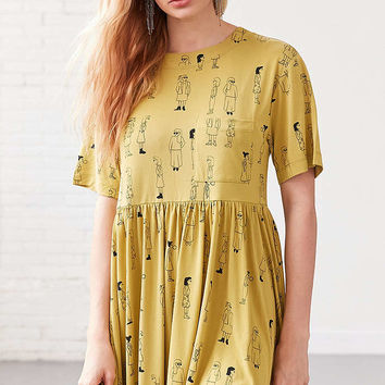 Silence + Noise Doodle Dee Babydoll Tee Mini Dress - Urban Outfitters