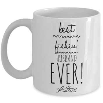 """Husband Fishing Coffee Mugs - His Fishin Mug - Funny Hobby Birthday Coffee Mugs - Unique Mugs For Fishermen - Funny Mug For Fishing Husband - Cheap Birthday Gifts For Him From Her - White Ceramic 11"""" Vday Jar Cup For Coffee & Cookies"""