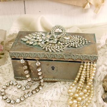 Vintage verdigris metal chest trunk jewelry box Shabby French jewelry box rhinestones altered jewelry holder