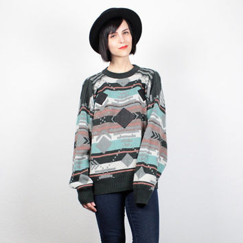 Vintage 80s Sweater 1980s Jumper Southwestern Knit Pullover Leather Patch Boyfriend Sweater Black Green Gray Cozy Cosby Sweater L Large XL