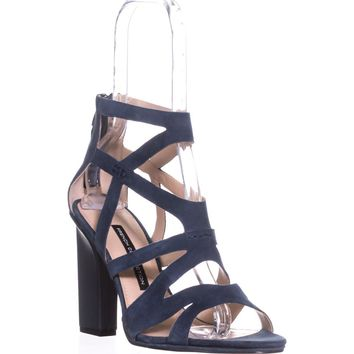 French Connection Isla Strappy Heel Sandals, Navy Suede, 9.5 US / 39.5 EU