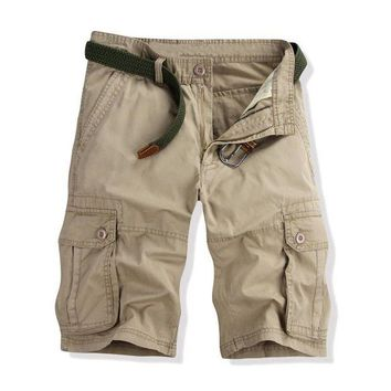 ONETOW Black Khaki Green Men's Cargo Shorts Cotton Military Army Combat Hip pop Multi pockets Size 28-40