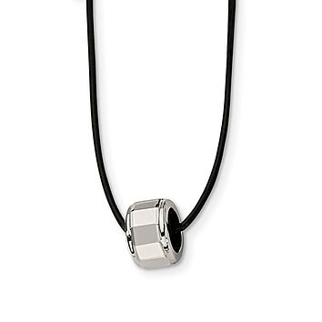 Brushed Tungsten Barrel and Black Leather Cord Necklace 18 Inch