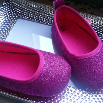 Pink Ballerina Baby Shoes, hot pink Baby Shoes,Christening baby shoes, baby girl crib shoes, Wedding, Ready to ship