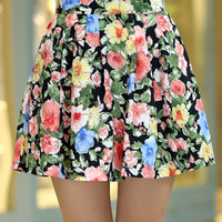 Floral Pleated Chiffon Mini Skater Skirt