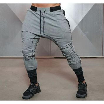 2017 men fitness muscle movement side zipper breathable stretch trousers sweatpants gyms casual pants