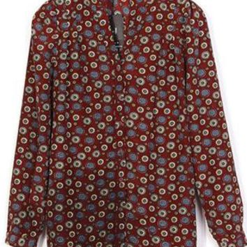 Red Vintage Pattern Shirt S010175