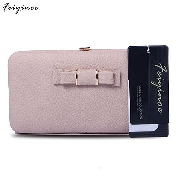 Women wallets Long design Wallet cute bow student lunch box purse large capacity mobile phone