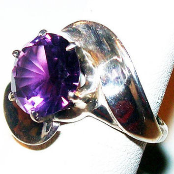 "Amethyst Purple Ring Signed 925 Sterling Silver Large 10mm Stone Sz 6 3/4"" Vintage"