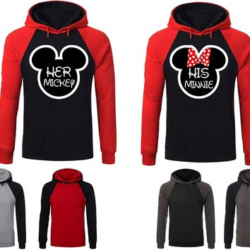Mickey Minnie His Her Couple Matching Love Set Raglan Hoodie