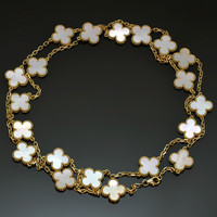 VAN CLEEF & ARPELS Vintage Alhambra Mother-of-Pearl Gold Charm Necklace
