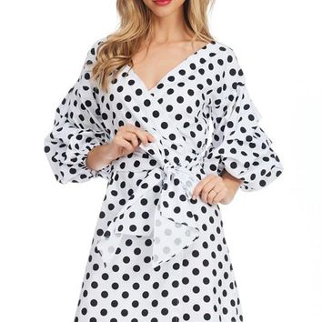 White Polka Dot Print Bow Tie Short Dress