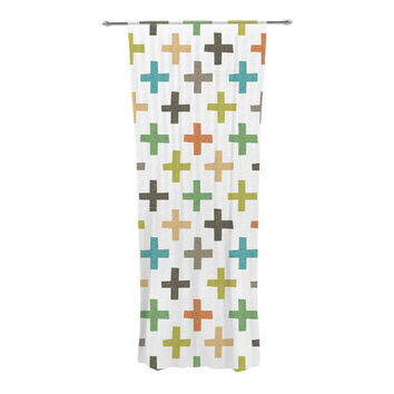 "Daisy Beatrice ""Hipster Crosses Repeat"" Multicolor Decorative Sheer Curtain"