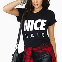 Alex & Chloe Nice Hair Tee - Black