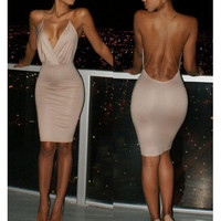 Fashion bodycon Deep V backless dress