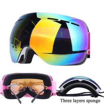 Clip on Ski Glasses Anti-fog Double Layers Ski Goggles UV400 Large Frame Snowboard Mask Skiing Men Women Snow Snowboard Goggles