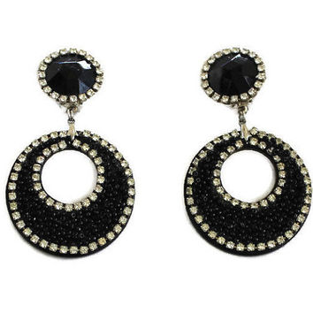 Vintage 1960's Black With Clear Rhinestone Earrings Clip On Earrings Retro Earrings Mod Earrings