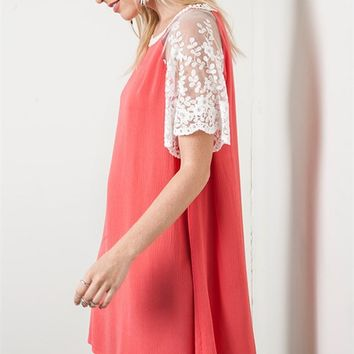 Umgee Tomato Red Lightweight Woven Shift Dress with Lace Sleeves and Detail
