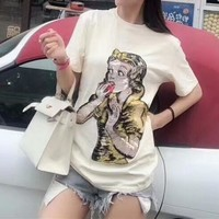 """Gucci"" Women Casual Fashion Shiny Cartoon Snow White Print Short Sleeve T-shirt Top Tee"
