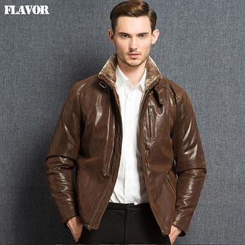 Men's double face real leather jacket Genuine Leather jacket men warm leather coat working clothes