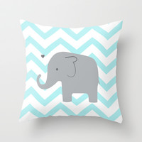 Chevron Elephant Mint Throw Pillow by Janelle Krupa