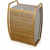 Laundry Hamper basket MV Bamboo With Canvas Gray With Carry Handles and Lid