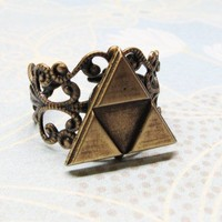 Triangles Ring, Deluxe Bronze, inspired by Legend of Zelda Triforce