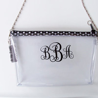 Clear Convertible Transparent Vinyl Monogram Clutch Polka Dot Zipper Chain Cross Body/Wristlet/PGA Tour Purse/Pouch/Bag/Wallet/Phone Holder
