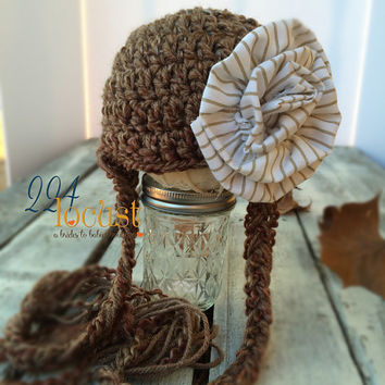 Baby Hat size 0-12 mos, Brown Hat with Flower, Fanciful Fall 2015 Collection, Baby Hat, Newborn Pictures, Photo Prop, Photography Prop