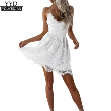 Summer Party Dress 2018 Women Elegant White Lace Patchwork Mini Dresses Sexy Backless Spaghetti Strap Dress Clothes for Women