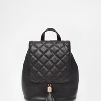 ASOS | ASOS Backpack With Quilted Flap And Tassel at ASOS