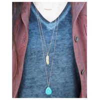"""Delicate Me"" Dainty Triple Layer Turquoise Feather Necklace"