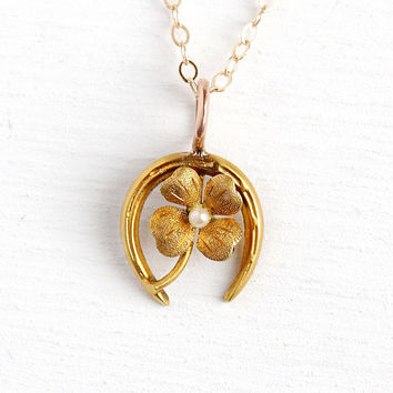 Horseshoe & Clover Necklace - Edwardian 18k Yellow Gold Stick Pin Conversion Pendant - 1900s Dainty Good Luck Symbol Seed Pearl Jewelry
