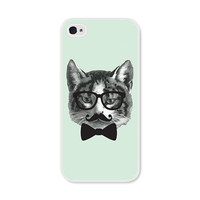 Cat Apple iPhone 5 Case - Plastic iPhone 5 Case - Funny iPhone Case Skin - Mint Grey Black French Mustache Glasses Bowtie Phone