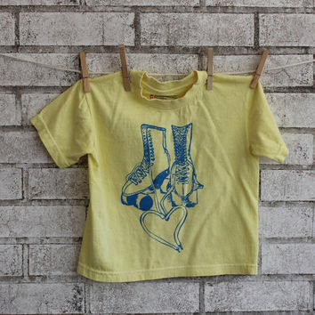 Children's Roller Rink Skate Tshirt, cotton crewneck tee shirt in light yellow, Skating, Skate Party, Screenprinted Shirt, Youth Clothing