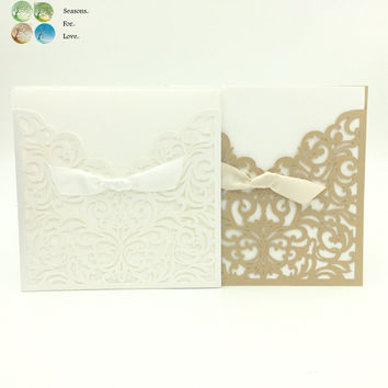 1sets wedding invitations engagement invitation cards party decoration supplies favors gift for guests laser vine seals ribbon