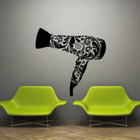 Wall decal decor decals sticker art hair salon beauty hairdryer pattern tracery barbershop (m1172)