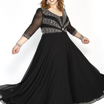Embellished Long Sleeve Illusion Black Fit To Flare Prom Dress  71195