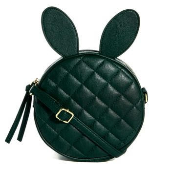 Round Bunny Rabbit Ears Shaped Quilted Cross Body Shoulder Bag in Dark Green