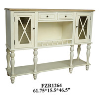 Crestview Jamestown White Sideboard with Light Wood Top - CVFZR1264