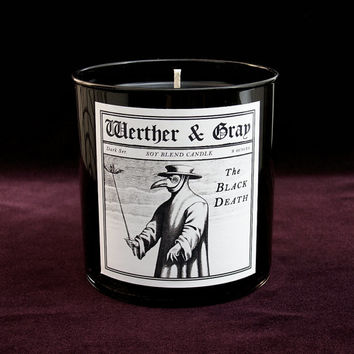 THE BLACK DEATH Candle, 9oz Black Tumbler, Dark Series, Werther + Gray, Plague, Gothic Vintage Victorian Style, Soy Blend, Scented Candle