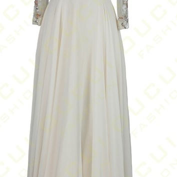 3/4 Sleeves Prom Dresses,White Prom Dresses,Long Evening Dress