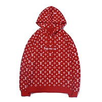 Supreme x LV joint name full printed letter logo printing embroidery loose hooded long-sleeved sweater red